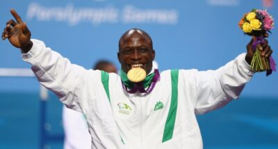 Yakubu Adesokan of Nigeria this afternoon bettered his World Record set in qualifying to take the first Powerlifting gold of the London 2012 Paralympics Games in the Men's 48kg with a lift of 180kg.