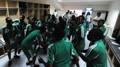 Nigeria's Flamingoes dances before the FiFA U-17 Women's World Cup match at pulsating 1-1 draw in the Tofig Bahramov stadium in Baku Sept.22, 2012. /Photo: Getty Images