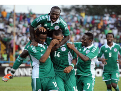Super Eagles players, Victor Moses, Mikel Obi, Obiora Nwankwo & Ahmed Musa, celebrates one of the goals on Saturday/ Photo: Leadership.NG